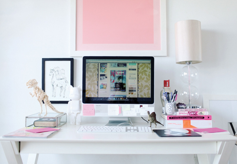 Modern Chic White Pink Home Office Desk Computer